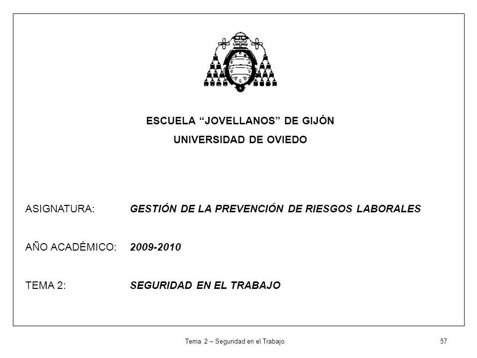 ESCUELA JOVELLANOS DE GIJÓN UNIVERSIDAD DE OVIEDO ASIGNATURA: GESTIÓN DE LA PREVENCIÓN DE RIESGOS LABORALES AÑO ACADÉMICO: 2009-2010 TEMA 2: SEGURIDAD