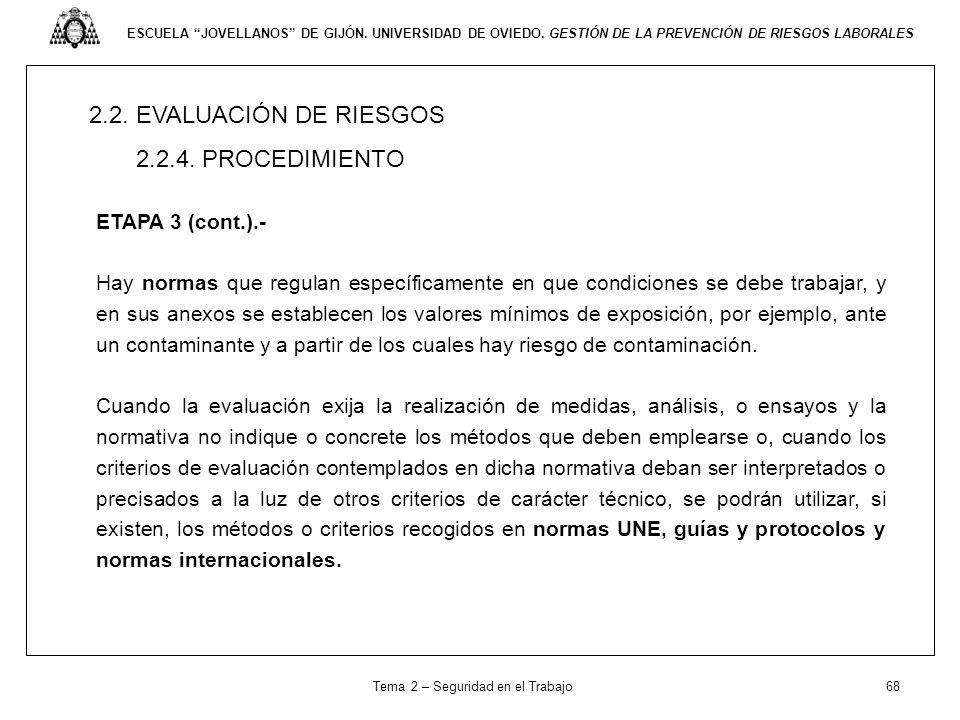 ESCUELA JOVELLANOS DE GIJÓN. UNIVERSIDAD DE OVIEDO. GESTIÓN DE LA PREVENCIÓN DE RIESGOS LABORALES 2.2. EVALUACIÓN DE RIESGOS 2.2.4. PROCEDIMIENTO ETAP