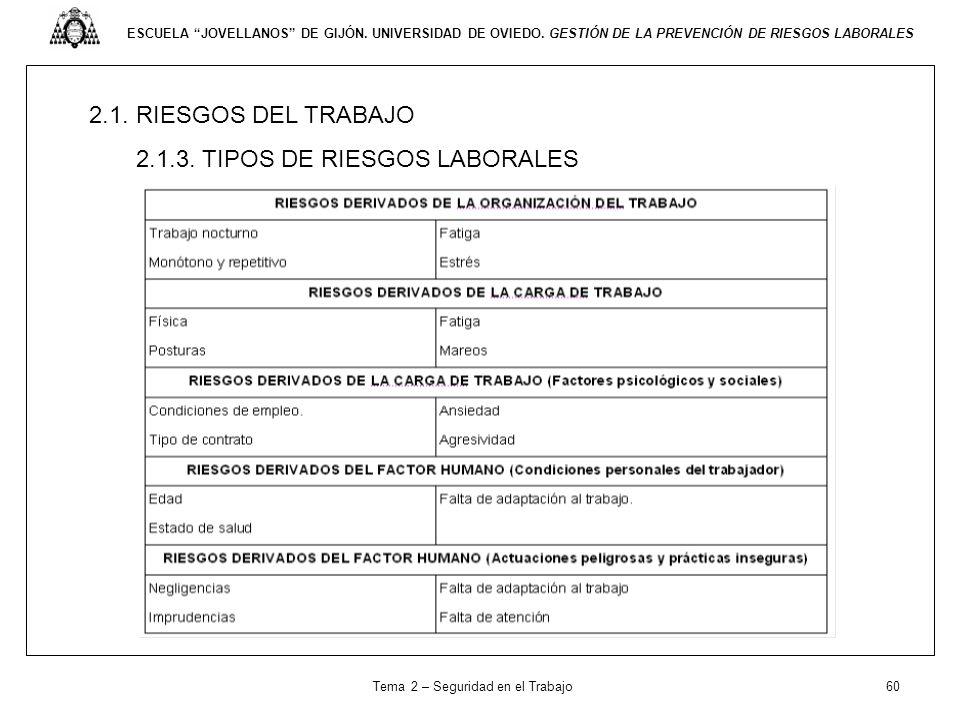 ESCUELA JOVELLANOS DE GIJÓN. UNIVERSIDAD DE OVIEDO. GESTIÓN DE LA PREVENCIÓN DE RIESGOS LABORALES 2.1. RIESGOS DEL TRABAJO 2.1.3. TIPOS DE RIESGOS LAB