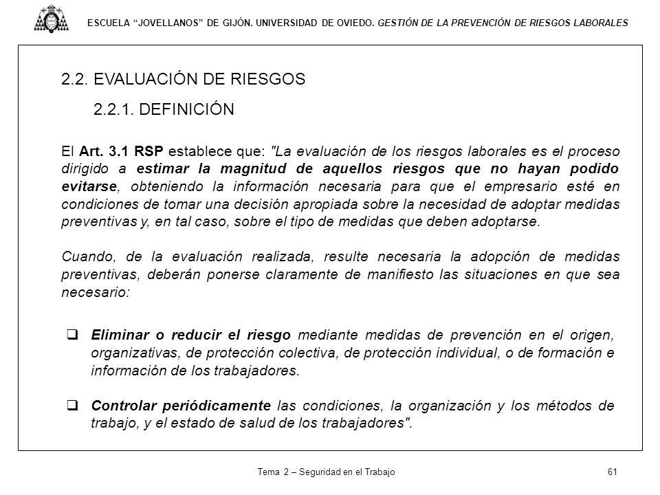 ESCUELA JOVELLANOS DE GIJÓN. UNIVERSIDAD DE OVIEDO. GESTIÓN DE LA PREVENCIÓN DE RIESGOS LABORALES 2.2. EVALUACIÓN DE RIESGOS 2.2.1. DEFINICIÓN El Art.