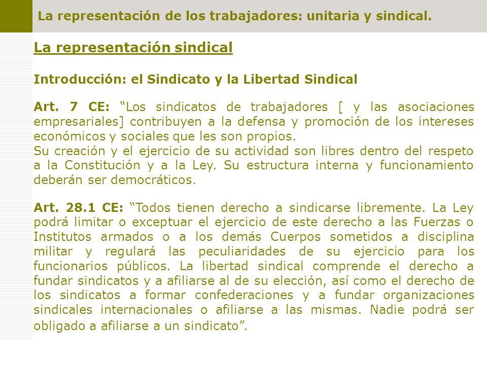 La representación de los trabajadores: unitaria y sindical.