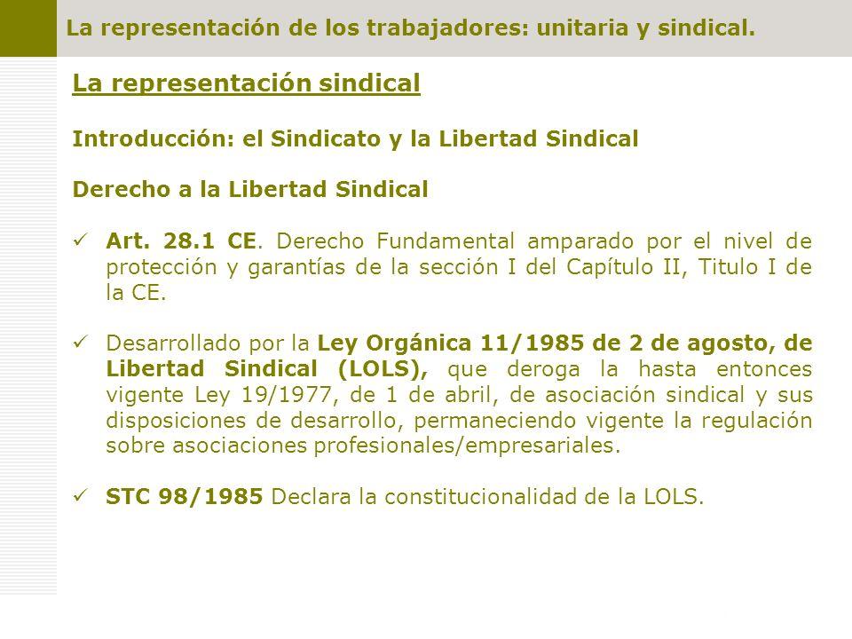 La representación de los trabajadores: unitaria y sindical. La representación sindical Introducción: el Sindicato y la Libertad Sindical Derecho a la