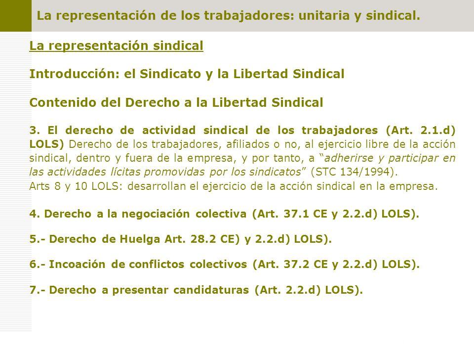 La representación sindical Introducción: el Sindicato y la Libertad Sindical Contenido del Derecho a la Libertad Sindical 3. El derecho de actividad s