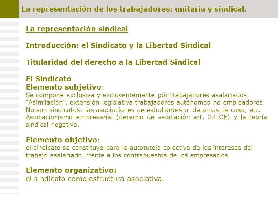 La representación sindical Introducción: el Sindicato y la Libertad Sindical Titularidad del derecho a la Libertad Sindical El Sindicato Elemento subjetivo: Se compone exclusiva y excluyentemente por trabajadores asalariados.