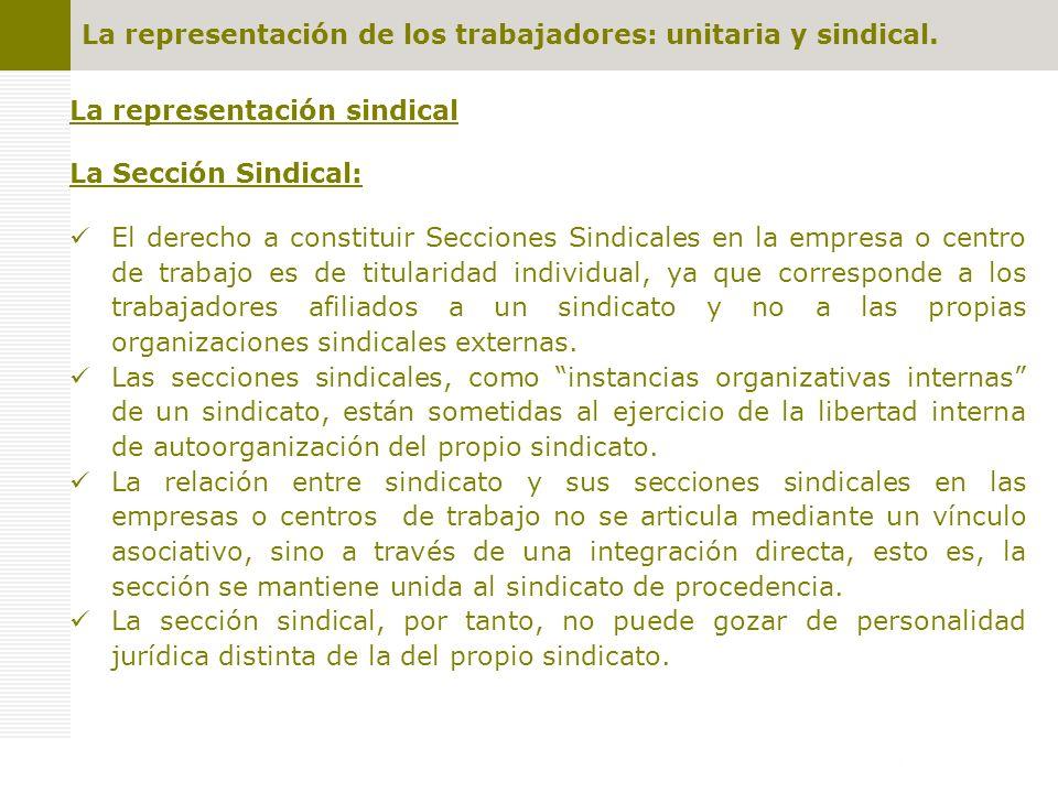 La representación de los trabajadores: unitaria y sindical. La representación sindical La Sección Sindical: El derecho a constituir Secciones Sindical