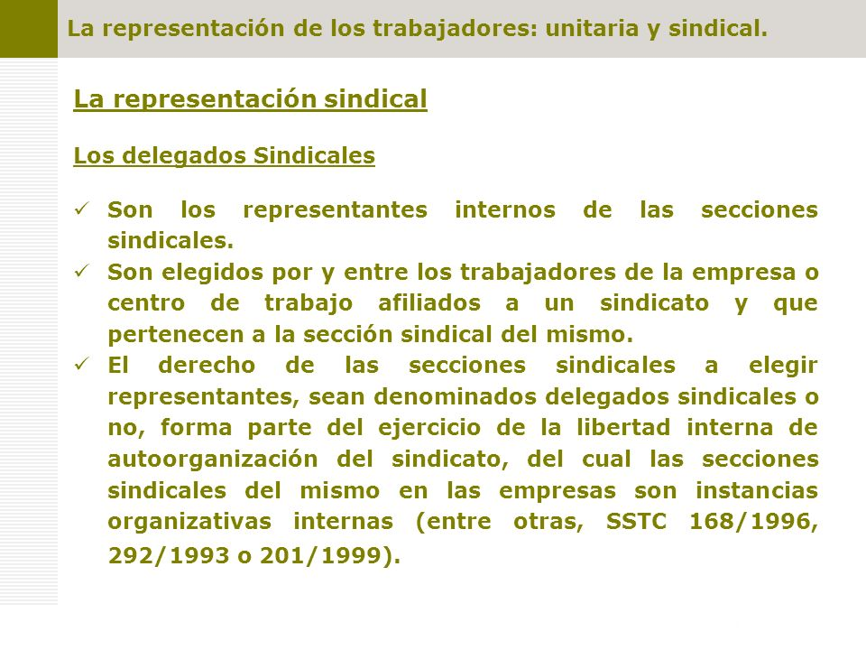 La representación sindical Los delegados Sindicales Son los representantes internos de las secciones sindicales. Son elegidos por y entre los trabajad