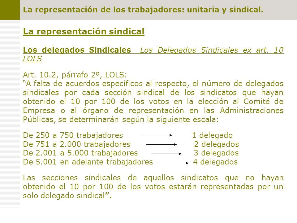 La representación sindical Los delegados Sindicales Los Delegados Sindicales ex art. 10 LOLS Art. 10.2, párrafo 2º, LOLS: A falta de acuerdos específi