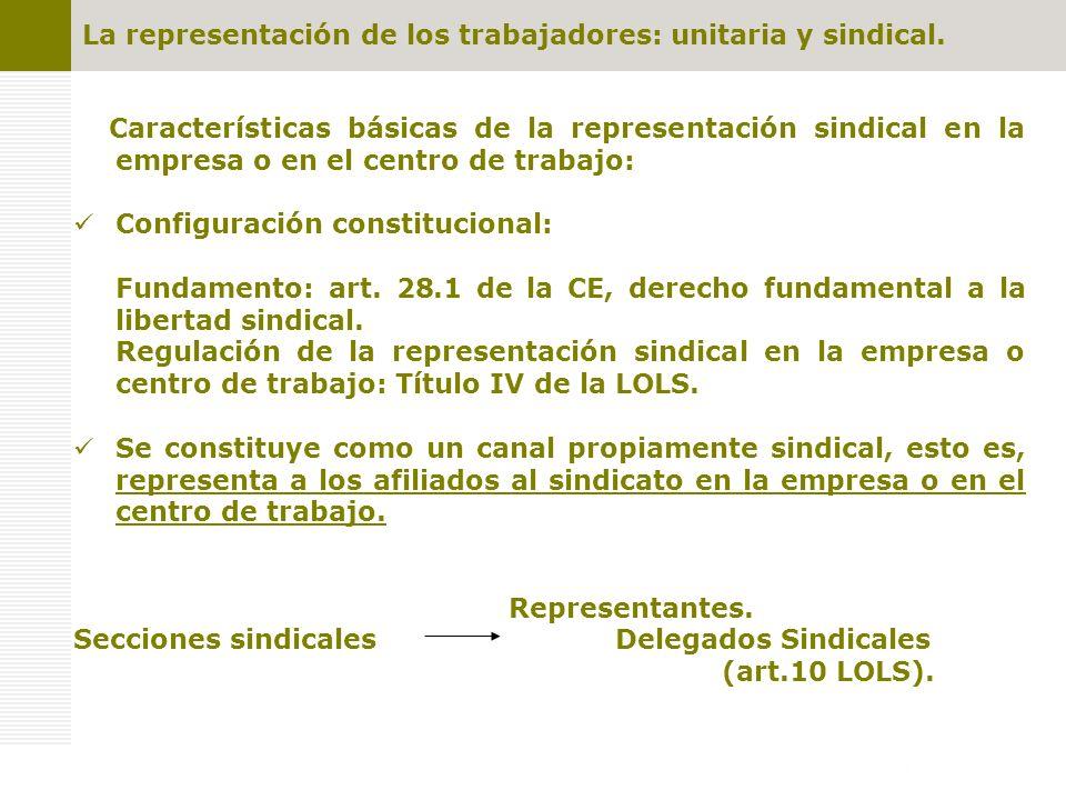 La representación de los trabajadores: unitaria y sindical. Características básicas de la representación sindical en la empresa o en el centro de trab