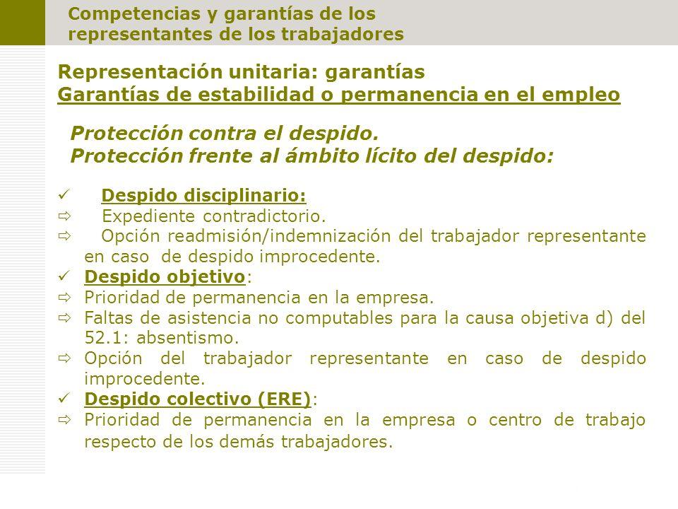 Competencias y garantías de los representantes de los trabajadores Representación unitaria: garantías Garantías de estabilidad o permanencia en el empleo Protección contra el despido.