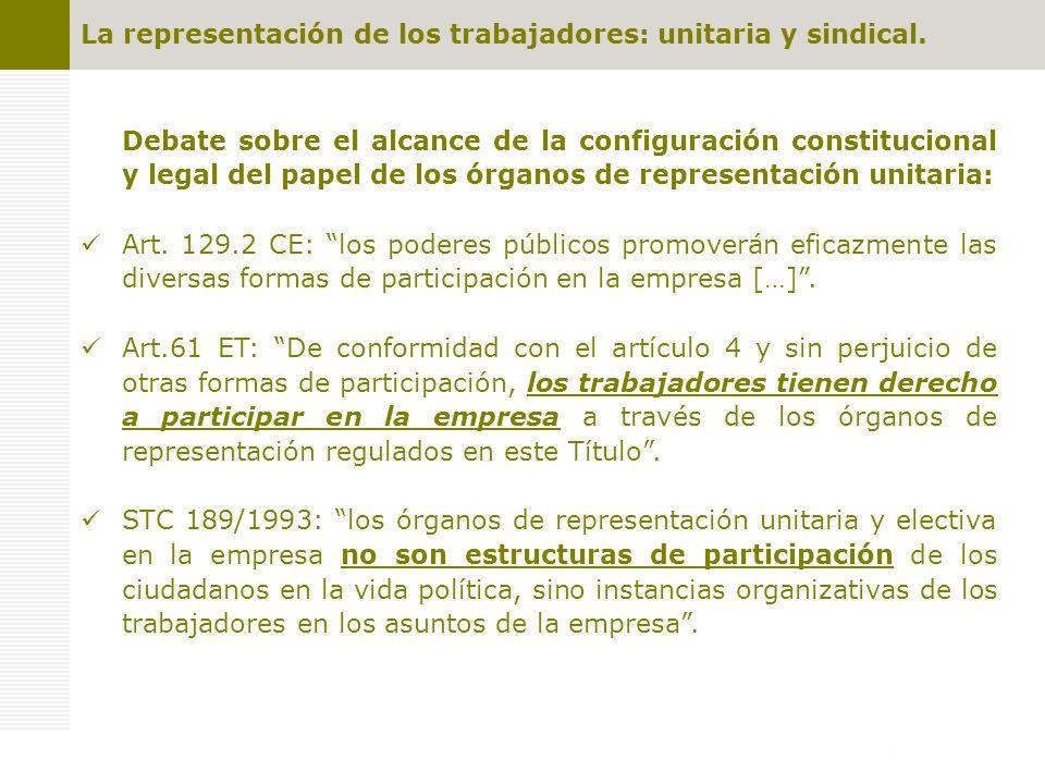 Representación unitaria: competencias COMPETENCIAS (art.