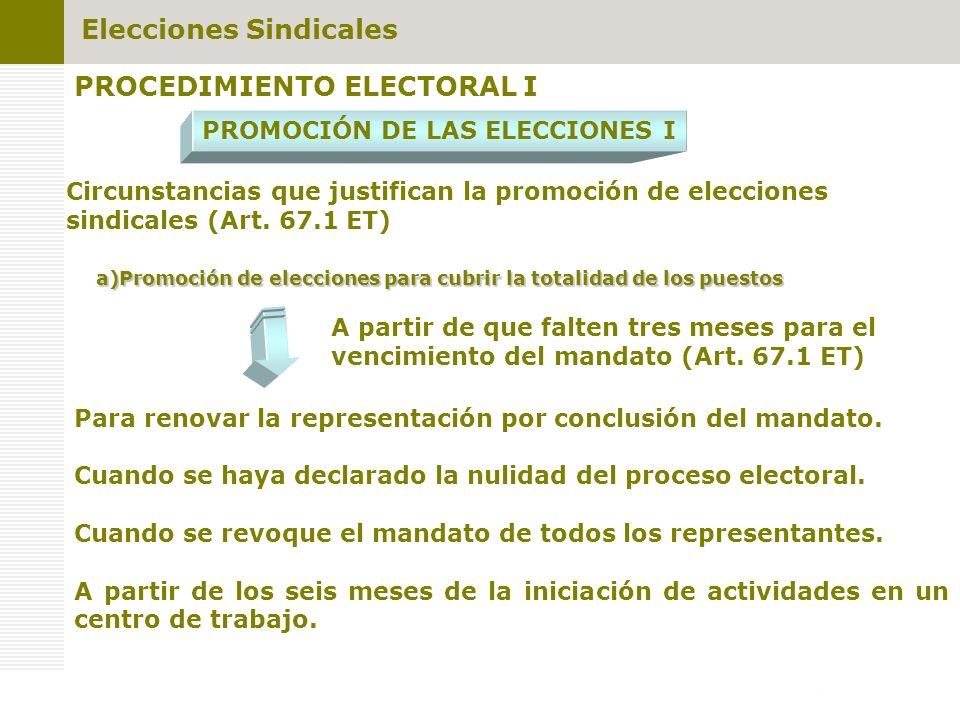 PROCEDIMIENTO ELECTORAL I PROMOCIÓN DE LAS ELECCIONES I Circunstancias que justifican la promoción de elecciones sindicales (Art. 67.1 ET) a)Promoción