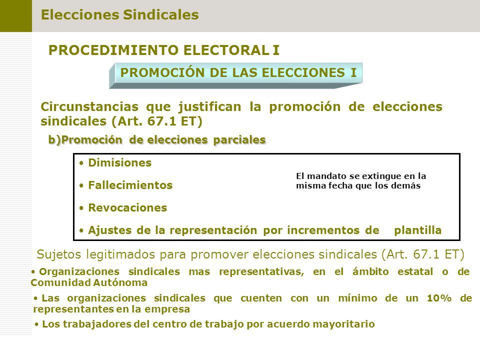 PROCEDIMIENTO ELECTORAL I PROMOCIÓN DE LAS ELECCIONES I Sujetos legitimados para promover elecciones sindicales (Art. 67.1 ET) Los trabajadores del ce