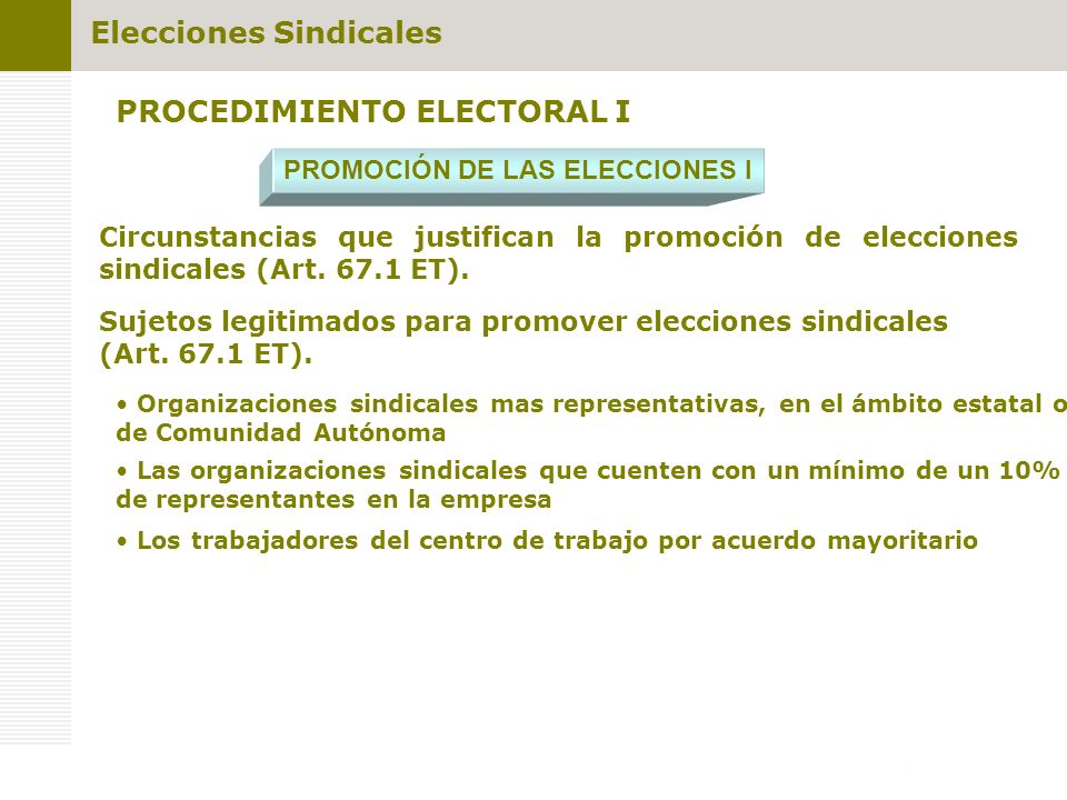 PROCEDIMIENTO ELECTORAL I PROMOCIÓN DE LAS ELECCIONES I Sujetos legitimados para promover elecciones sindicales (Art. 67.1 ET). Los trabajadores del c
