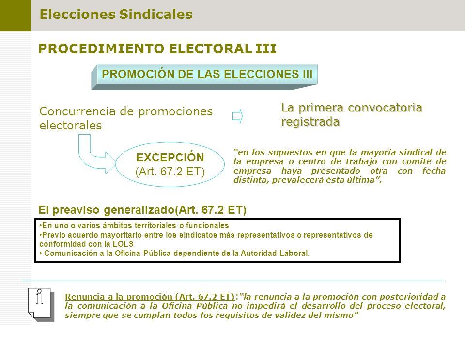 PROCEDIMIENTO ELECTORAL III PROMOCIÓN DE LAS ELECCIONES III Concurrencia de promociones electorales La primera convocatoria registrada en los supuesto