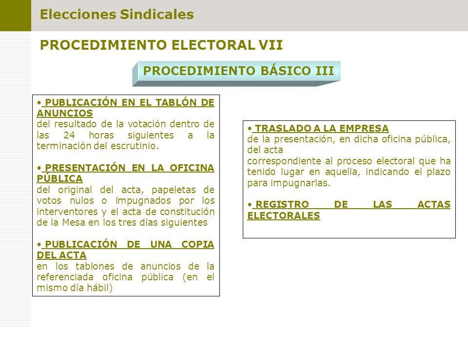 PUBLICACIÓN EN EL TABLÓN DE ANUNCIOS del resultado de la votación dentro de las 24 horas siguientes a la terminación del escrutinio. PRESENTACIÓN EN L