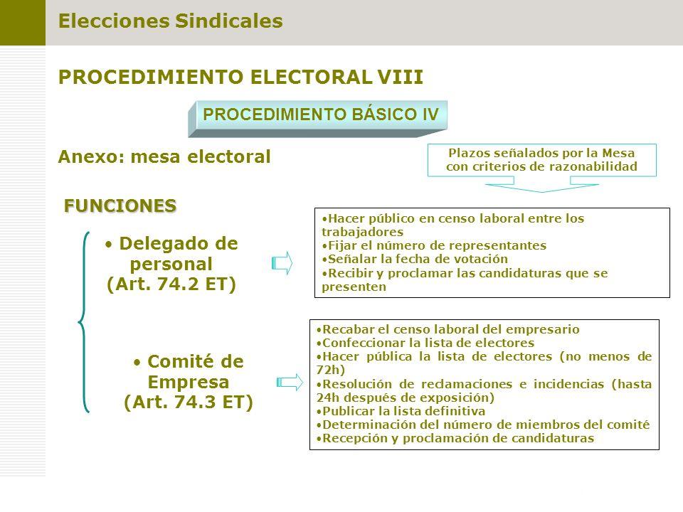 PROCEDIMIENTO ELECTORAL VIII PROCEDIMIENTO BÁSICO IV Anexo: mesa electoral FUNCIONES Delegado de personal (Art. 74.2 ET) Comité de Empresa (Art. 74.3