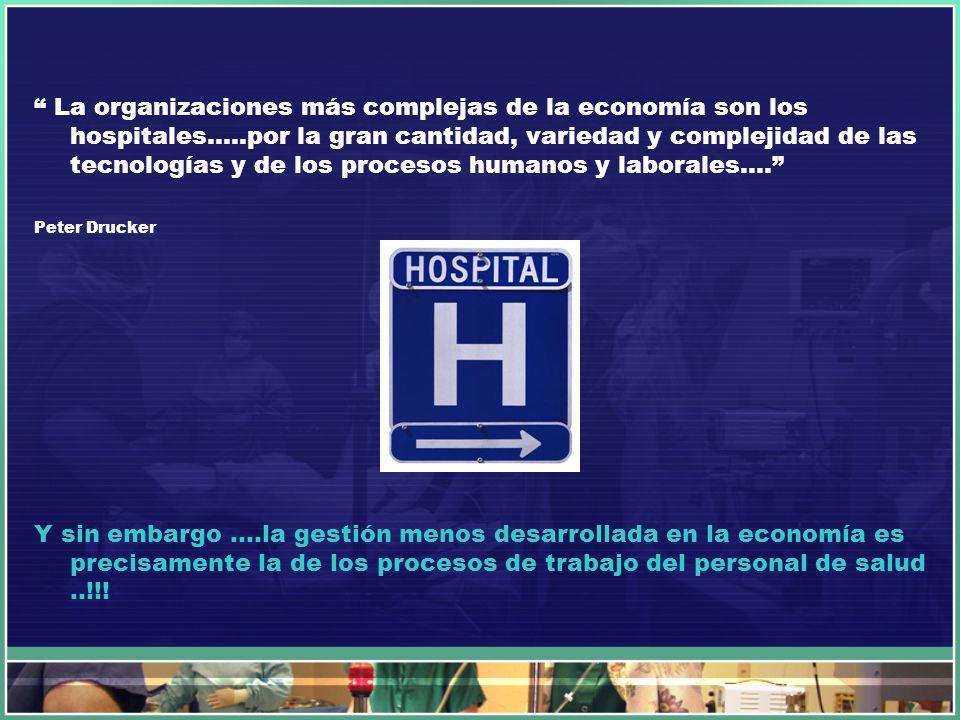 La organizaciones más complejas de la economía son los hospitales…..por la gran cantidad, variedad y complejidad de las tecnologías y de los procesos