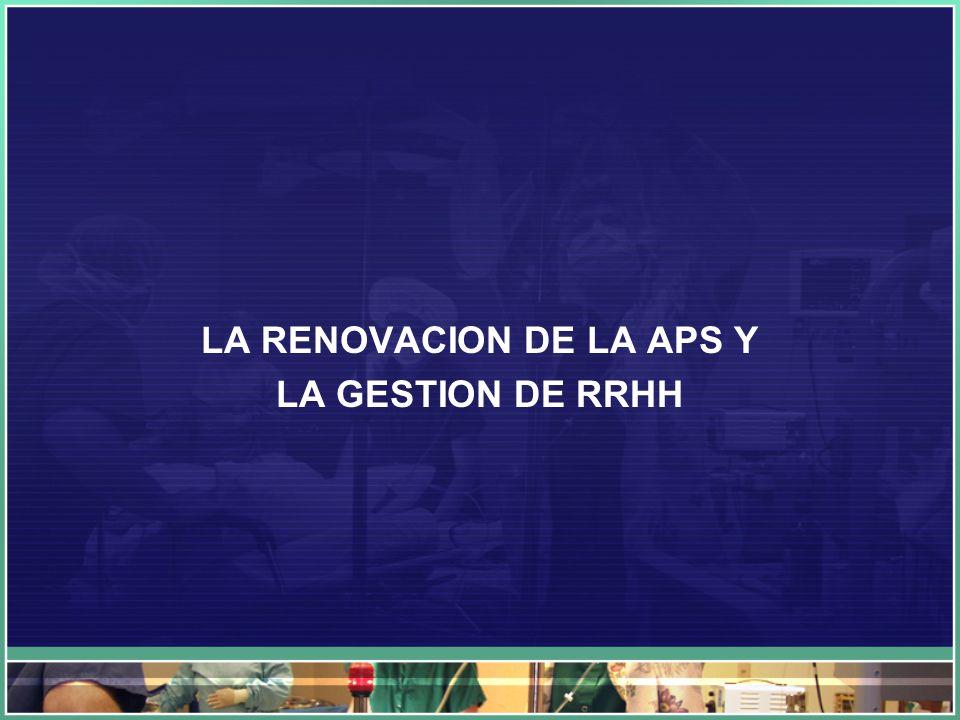 LA RENOVACION DE LA APS Y LA GESTION DE RRHH