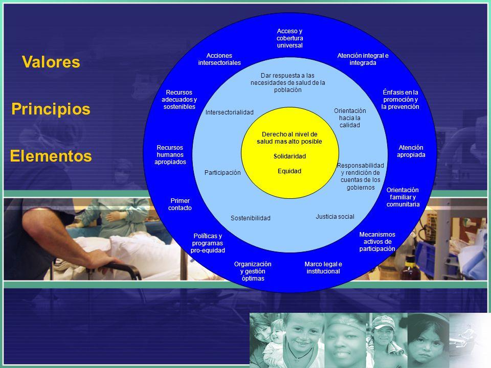 Orientación hacia la calidad Responsabilidad y rendición de cuentas de los gobiernos Sostenibilidad Participación Intersectorialidad Derecho al nivel