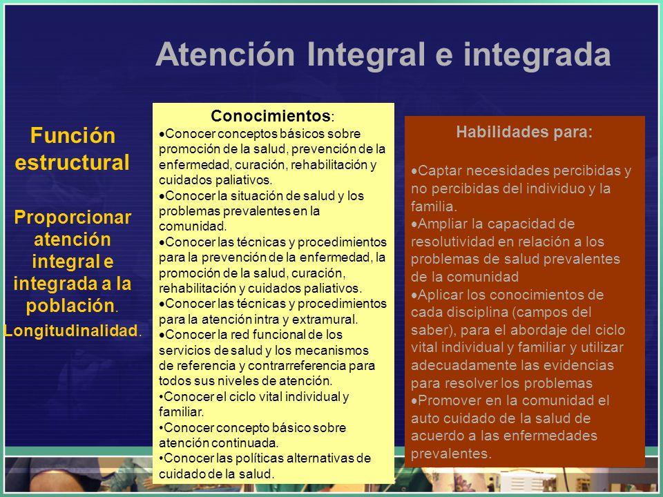 Atención Integral e integrada Función estructural Proporcionar atención integral e integrada a la población. Longitudinalidad. Conocimientos : Conocer