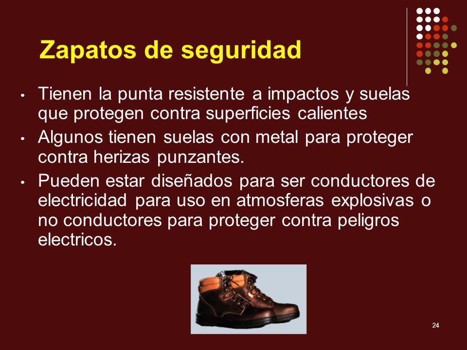 24 Zapatos de seguridad Tienen la punta resistente a impactos y suelas que protegen contra superficies calientes Algunos tienen suelas con metal para