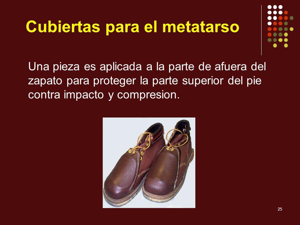 25 Cubiertas para el metatarso Una pieza es aplicada a la parte de afuera del zapato para proteger la parte superior del pie contra impacto y compresi