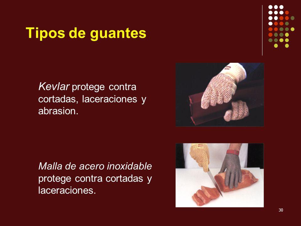30 Kevlar protege contra cortadas, laceraciones y abrasion. Malla de acero inoxidable protege contra cortadas y laceraciones. Tipos de guantes