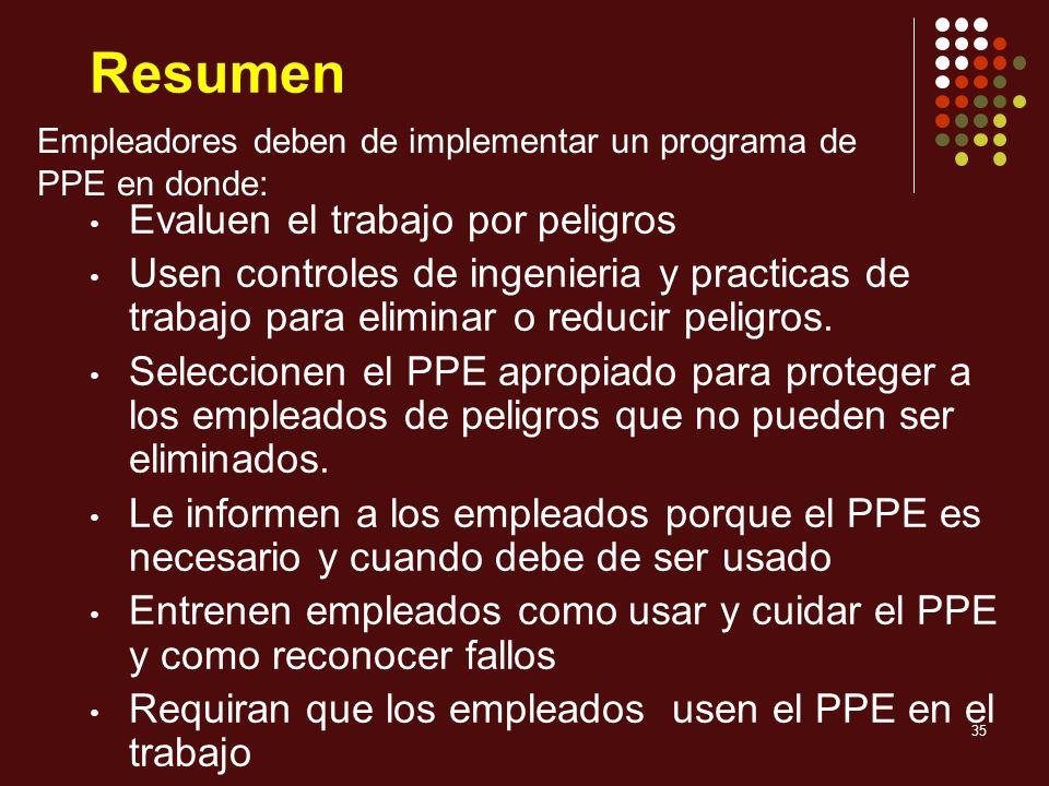 35 Resumen Evaluen el trabajo por peligros Usen controles de ingenieria y practicas de trabajo para eliminar o reducir peligros. Seleccionen el PPE ap