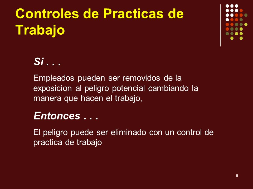 6 Controles de Practica de Trabajo Uso de metodo mojado para suprimir el polvo Higiene personal Limpieza y mantenimiento Rotacion de los obreros Ejemplos...