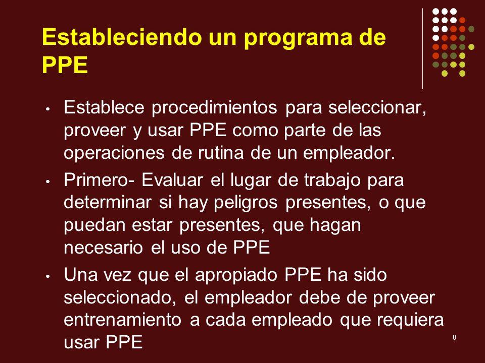 8 Estableciendo un programa de PPE Establece procedimientos para seleccionar, proveer y usar PPE como parte de las operaciones de rutina de un emplead