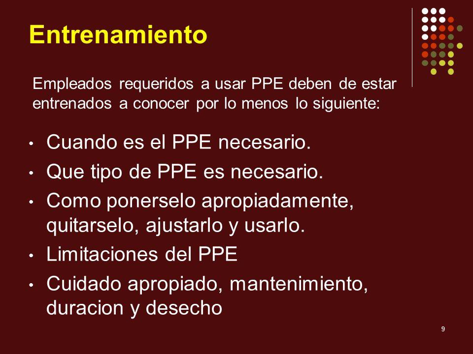 9 Entrenamiento Cuando es el PPE necesario. Que tipo de PPE es necesario. Como ponerselo apropiadamente, quitarselo, ajustarlo y usarlo. Limitaciones