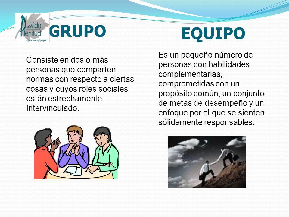 GRUPO EQUIPO Consiste en dos o más personas que comparten normas con respecto a ciertas cosas y cuyos roles sociales están estrechamente íntervinculado.
