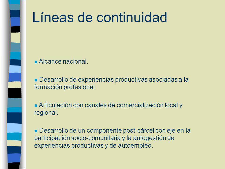 Líneas de continuidad n Alcance nacional.