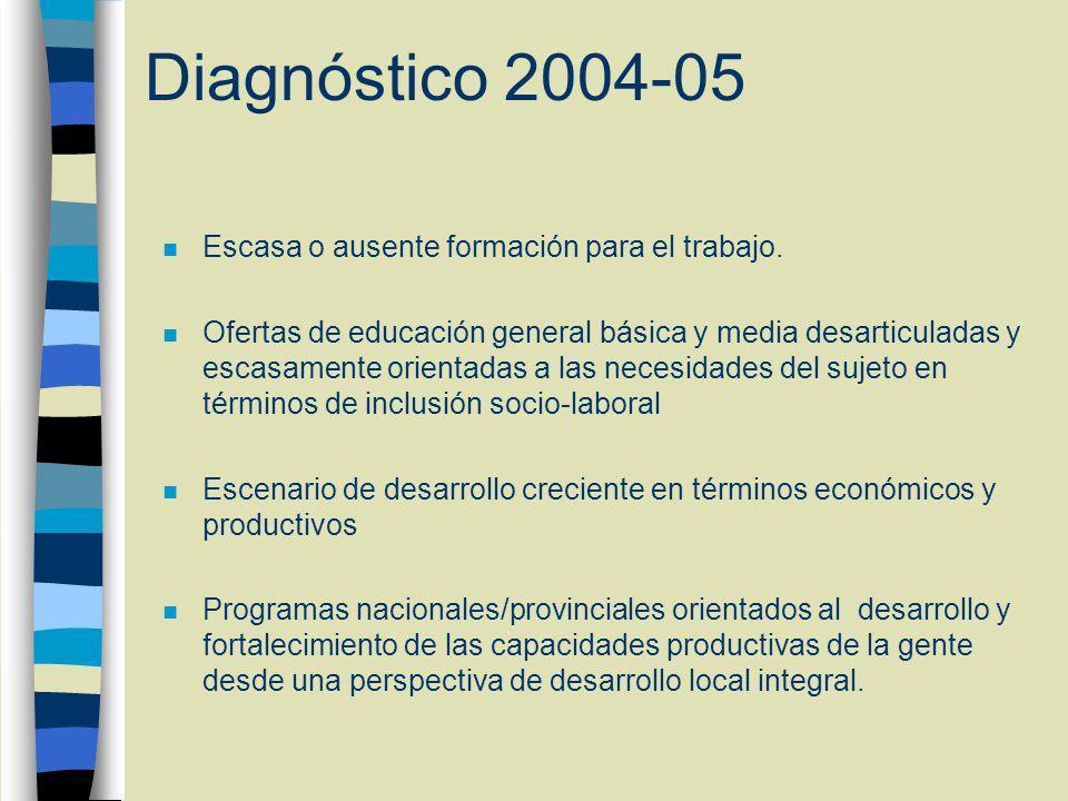 Diagnóstico 2004-05 n Escasa o ausente formación para el trabajo.