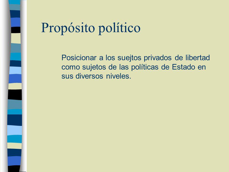 Propósito político Posicionar a los suejtos privados de libertad como sujetos de las políticas de Estado en sus diversos niveles.