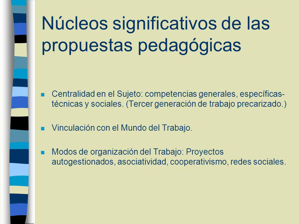Núcleos significativos de las propuestas pedagógicas n Centralidad en el Sujeto: competencias generales, específicas- técnicas y sociales.