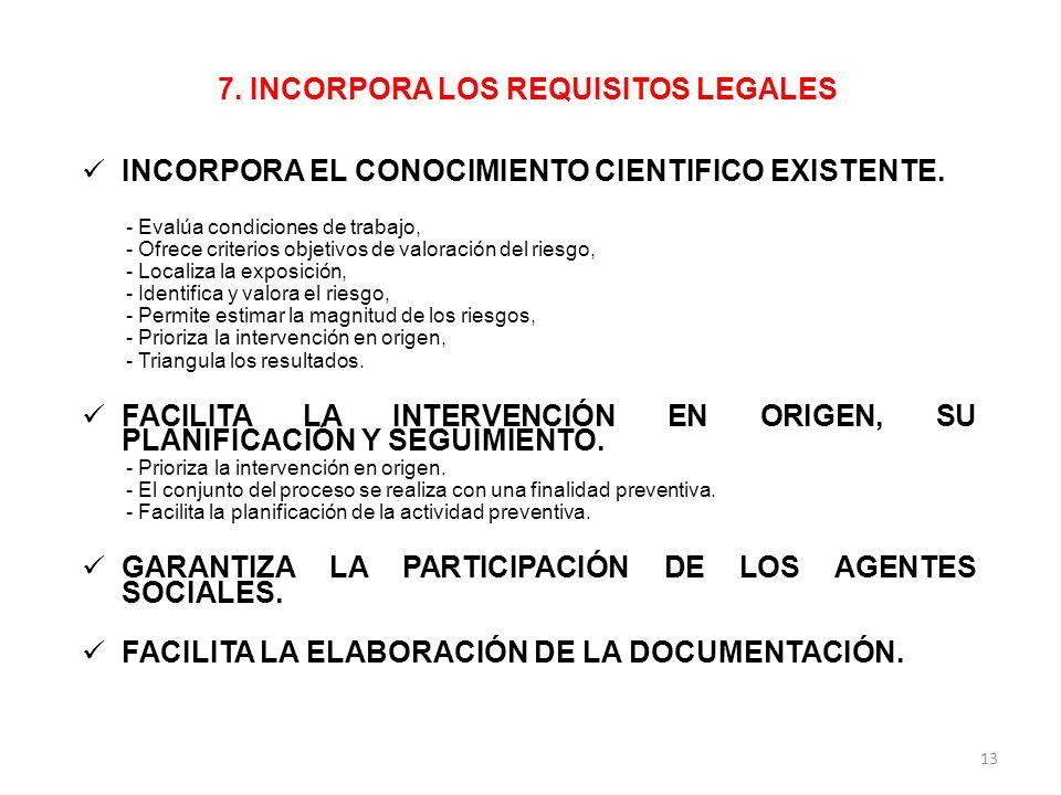 7. INCORPORA LOS REQUISITOS LEGALES INCORPORA EL CONOCIMIENTO CIENTIFICO EXISTENTE. - Evalúa condiciones de trabajo, - Ofrece criterios objetivos de v