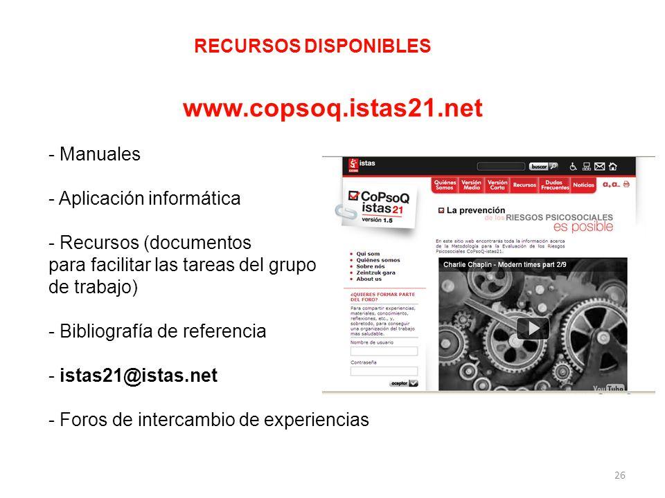 RECURSOS DISPONIBLES www.copsoq.istas21.net - Manuales - Aplicación informática - Recursos (documentos para facilitar las tareas del grupo de trabajo)