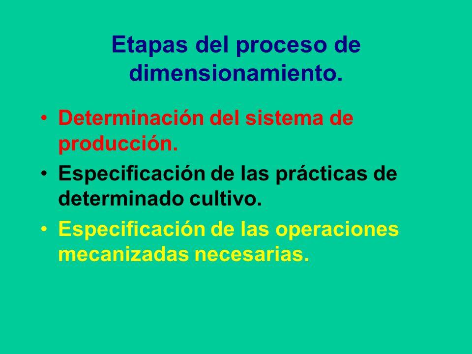 Etapas del proceso de dimensionamiento. Determinación del sistema de producción. Especificación de las prácticas de determinado cultivo. Especificació