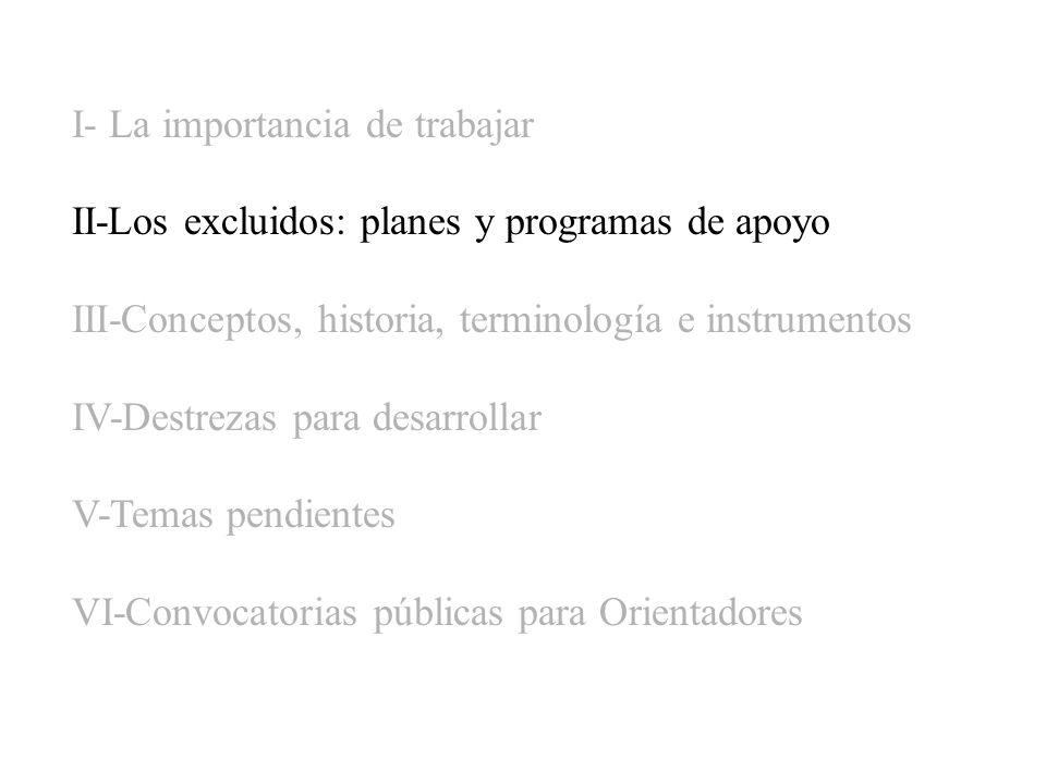 I- La importancia de trabajar II-Los excluidos: planes y programas de apoyo III-Conceptos, historia, terminología e instrumentos IV-Destrezas para des
