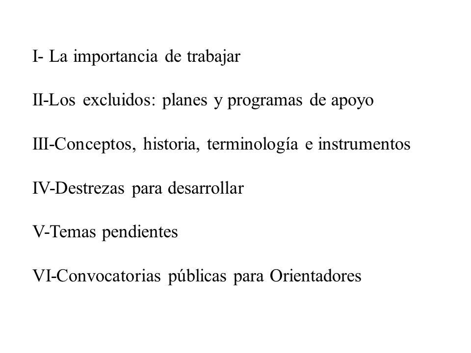 I- La importancia de trabajar II-Los excluidos: planes y programas de apoyo III-Conceptos, historia, terminología e instrumentos IV-Destrezas para desarrollar V-Temas pendientes VI-Convocatorias públicas para Orientadores