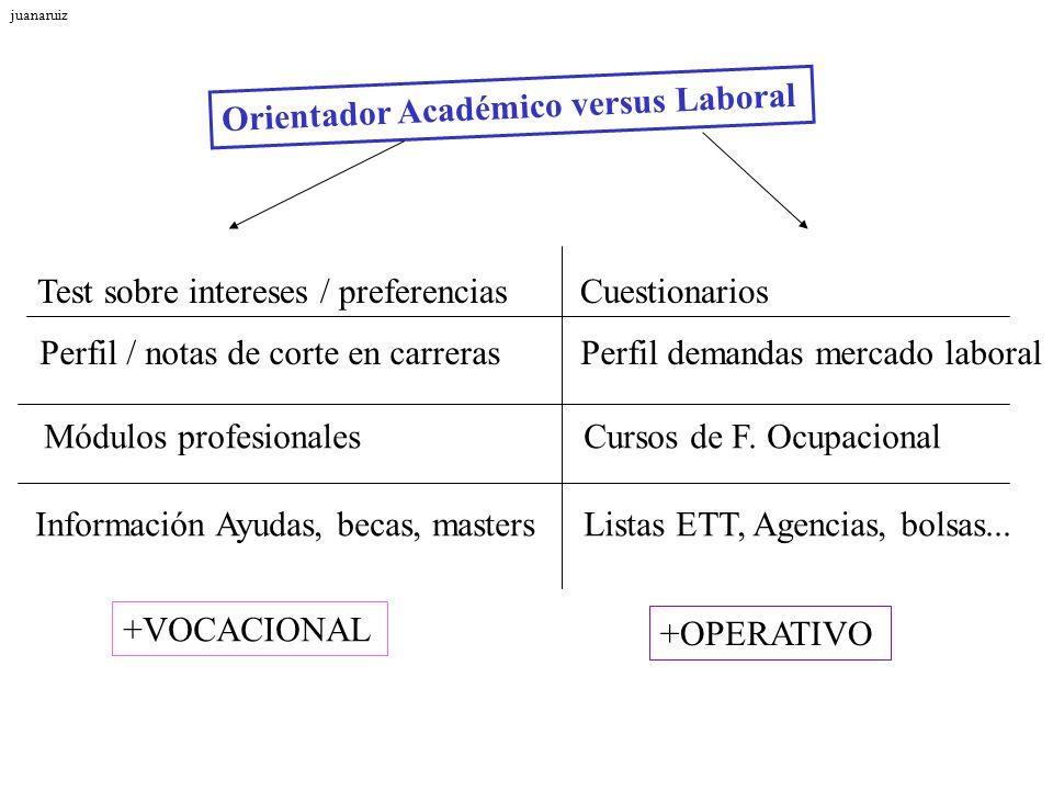 Orientador Académico versus Laboral +VOCACIONAL +OPERATIVO Test sobre intereses / preferencias Cuestionarios Perfil / notas de corte en carreras Perfi