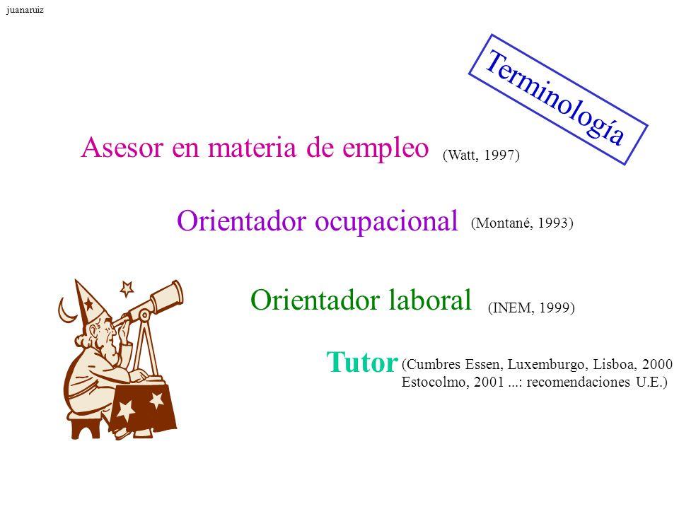 Terminología Orientador laboral Orientador ocupacional Asesor en materia de empleo (Watt, 1997) (Montané, 1993) (INEM, 1999) Tutor (Cumbres Essen, Lux