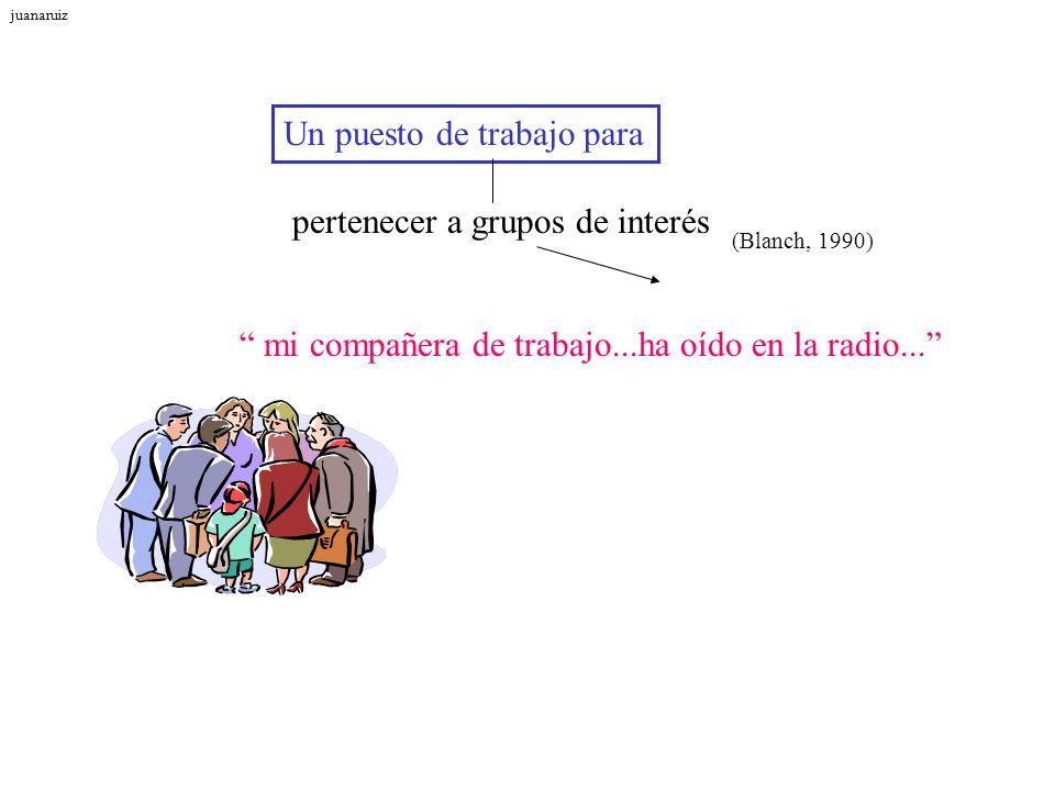 Un puesto de trabajo para (Blanch, 1990) pertenecer a grupos de interés mi compañera de trabajo...ha oído en la radio... juanaruiz