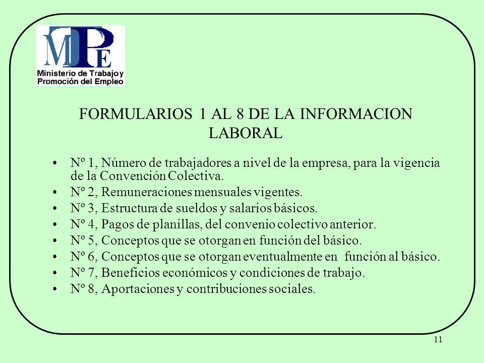 11 FORMULARIOS 1 AL 8 DE LA INFORMACION LABORAL Nº 1, Número de trabajadores a nivel de la empresa, para la vigencia de la Convención Colectiva. Nº 2,