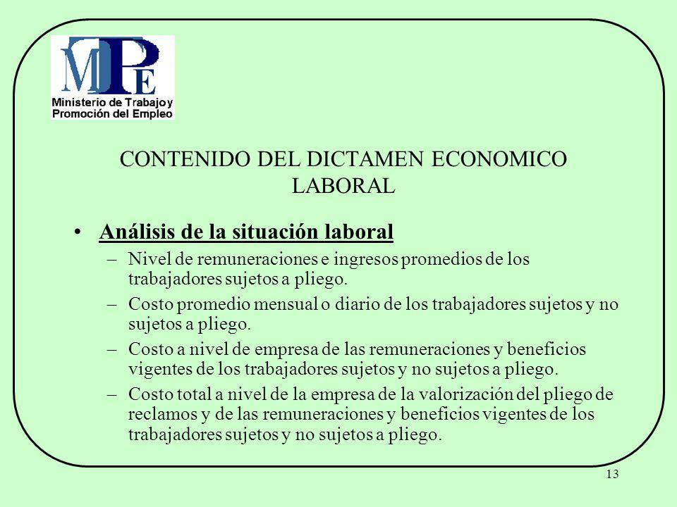 13 CONTENIDO DEL DICTAMEN ECONOMICO LABORAL Análisis de la situación laboral –Nivel de remuneraciones e ingresos promedios de los trabajadores sujetos