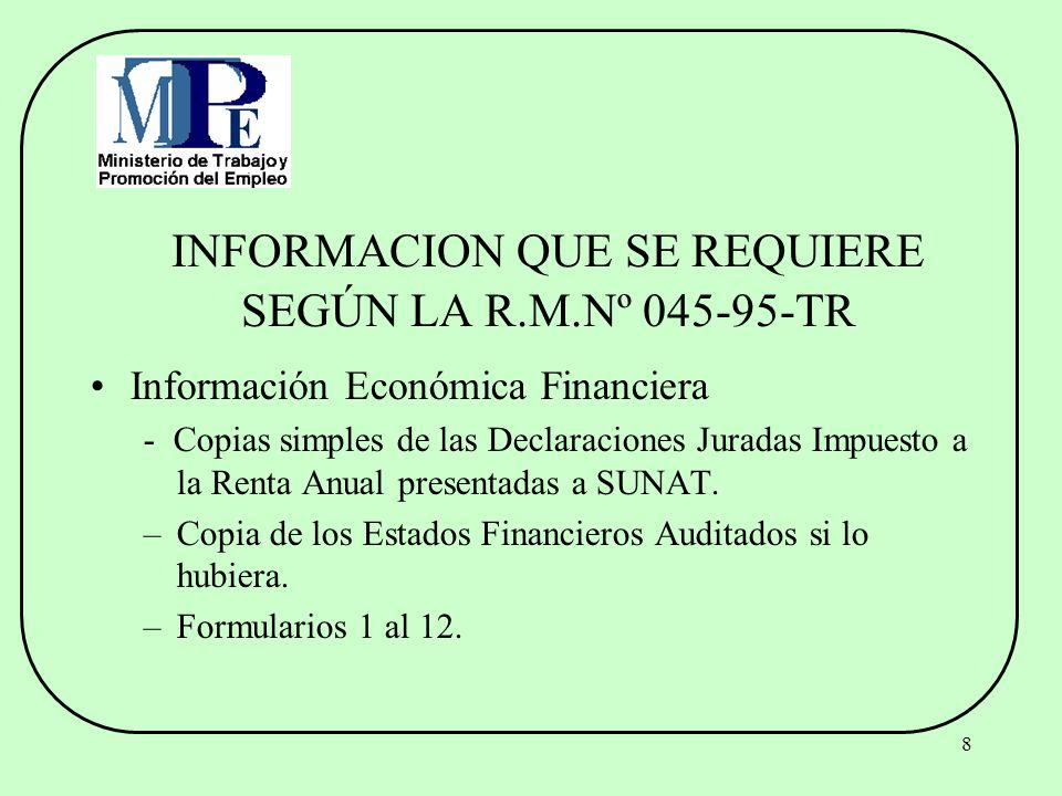 8 INFORMACION QUE SE REQUIERE SEGÚN LA R.M.Nº 045-95-TR Información Económica Financiera - Copias simples de las Declaraciones Juradas Impuesto a la R