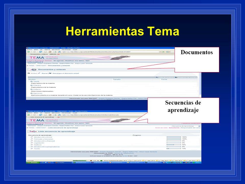 Herramientas Tema Documentos Secuencias de aprendizaje