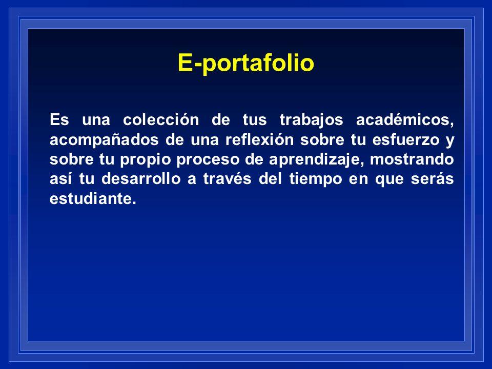 E-portafolio Es una colección de tus trabajos académicos, acompañados de una reflexión sobre tu esfuerzo y sobre tu propio proceso de aprendizaje, mos