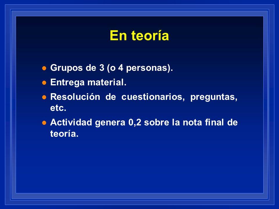 En teoría l Grupos de 3 (o 4 personas). l Entrega material. l Resolución de cuestionarios, preguntas, etc. l Actividad genera 0,2 sobre la nota final